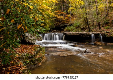 A scenic view of Mash Fork Falls in the autumn / fall at Camp Creek State Park in the mountains of West Virginia.