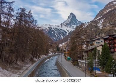 Scenic view of Matterhorn peak and city of Zermatt, Switzerland