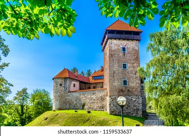 Scenic view at medieval architecture of old medieval castle landmark in Karlovac, Dubovac old town. / Selective focus.
