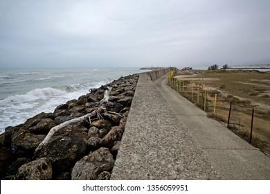 Scenic view of mediterranean coastline in Versilia,  on a grey winter day