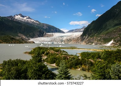 Scenic view of Mendenhall Glacier and lake, Juneau, Alaska