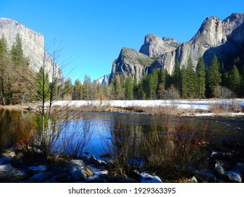 Scenic view of the Merced River that flows through Yosemite National Park, in the Sierra Nevada Mountains, California.