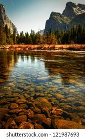 Scenic view of Merced river in Yosemite Valley, Mariposa, California.