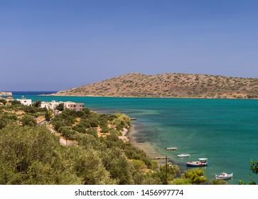 Scenic view to Mirabello bay and Elounda town in Crete island, Greece