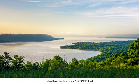 scenic view of the Mississippi River & Lake Pepin on a summer morning