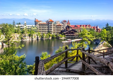Scenic view of Mohonk Mountain House and Mohonk Lake in upstate New York. - Shutterstock ID 1944977008
