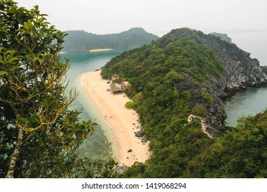 Scenic view of Monkey Beach in Halong Bay, Vietnam, Southeast Asia