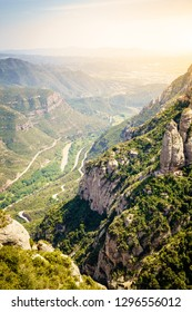 Scenic view from the Montserrat Mountain in Catalonia, Spain
