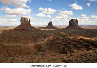 Scenic view of Monument Valley from the observation area near the visitor center in Arizona.