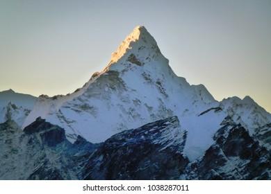 Scenic view of mount Ama Dablam at dawn from Kala Patthar, Gorak Shep, Everest Base Camp trek, Nepal