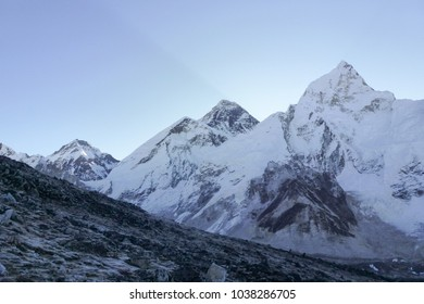 Scenic view of Mount Everest summit at dawn from Kala Patthar, Gorak Shep, Everest Base Camp trek, Nepal
