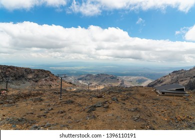 Scenic View of  Mount Ruapehu Volcano from Chair Lift.  Tongariro National Park, North Island of New Zealand