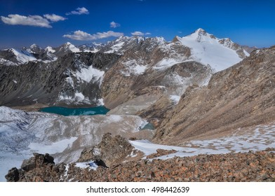 Scenic view of mountain lake in Ala Archa national park in Tian Shan mountain range in Kyrgyzstan