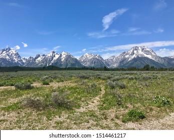 Scenic View of Mountain Range in Grand Teton National Park, Wyoming
