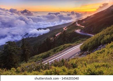 Scenic View of the mountain road with the sea of the cloud, Hehuan Mountain, Nantou, Taiwan