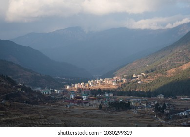 Scenic view of mountain and valley in Thimphu, Bhutan.