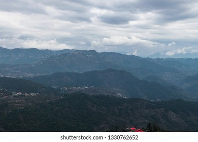 Scenic view of mountains at kasauli.