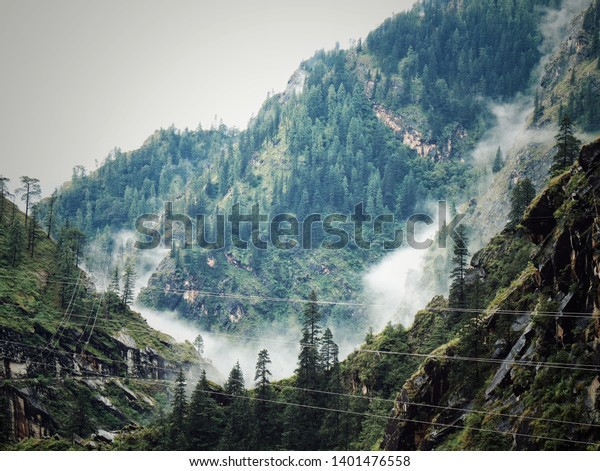 Scenic View of Mountains in KASOL, India.