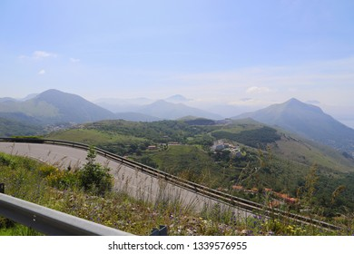 A scenic view of the mountains of Maratea from the road leading to the Statue of Christ the Redeemer of Maratea