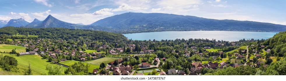 Scenic view of mountains and scattering houses from Menthon castle in Haute-Savoie, France - Shutterstock ID 1473873767