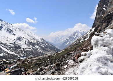 Scenic View Of mountains valley with snow