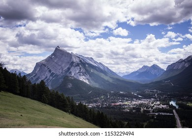 A scenic view of Mt. Rundle and the town of Banff.