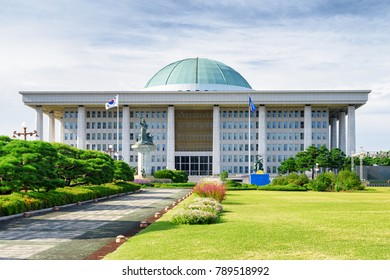 Scenic view of the National Assembly Proceeding Hall in Seoul, the Republic of Korea on sunny day. The building serves as the location of the legislative branch of the South Korean national government