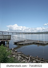 A scenic view of the Newburgh-Beacon Bridge over the Hudson River in Orange County, New York.