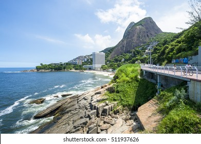 Scenic view from the newly finished coastal ciclovia bike path connecting the neighborhoods of Ipanema and São Conrado (and to Barra beyond) in Rio de Janeiro, Brazil