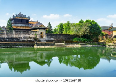 Scenic view of Ngoc Dich Lake on summer sunny day at the Imperial City in Hue, Vietnam. Hue is a popular tourist destination of Asia.