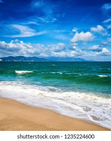 Scenic view of Nha Trang beach at sunny day. Beautiful tropical landscape