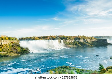 scenic view of Niagara falls in Autumn with boat anchored, Niagara Falls, Ontario Canada
