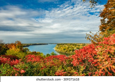 scenic view of Niagara river under a blue sky  in Autumn, Ontario Canada
