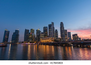 Scenic view of the night city - Singapore