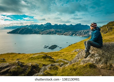 Scenic view from Nonstinden over Nappstraumen sound and the mountains of Flakstadøya at Lofoten Islands in Norway