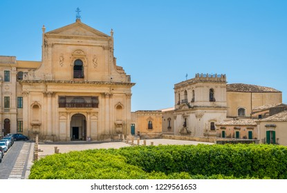 Scenic view in Noto, with San Salvatore Church and Santa Chiara Church. Province of Siracusa, Sicily, italy.