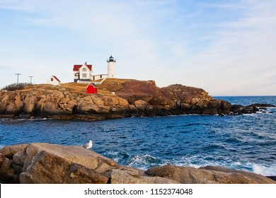 scenic view of nubble island and lighthouse maine usa
