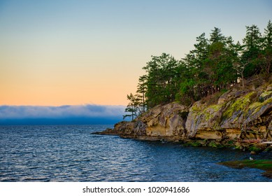Scenic view of the ocean overlooking at the Strait of Georgia from Jack Point and Biggs Park in Nanaimo, British Columbia.
