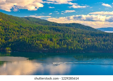 Scenic view of the ocean and Salt Spring Island shoreline taken from Maple Bay, Vancouver Island, BC