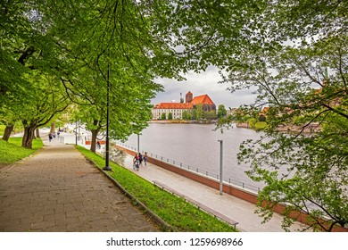 Scenic view of Odra embankment in Wroclaw, Poland