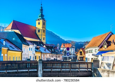Scenic view at old architecture in tourist resort of Samobor town, Croatia Europe. / Selective focus.