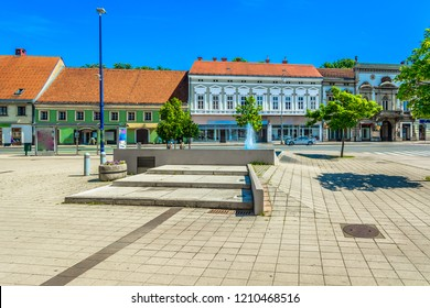 Scenic view at old famous Karlovac town, popular tourist and industrial center in Croatia, Europe. / Selective focus.