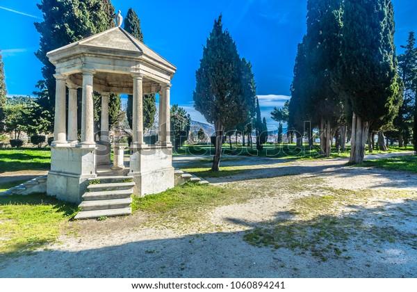 Scenic view at old pavilion in public park Sustipan, Split city, Croatia. / Selective focus.