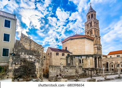 Scenic view at old roman ancient palace in Split town, popular tourist and historic landmark in Croatia. / Selective focus.