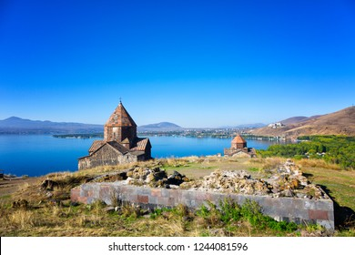 Scenic view of an old Sevanavank church in Sevan, on sunny day . Armenia