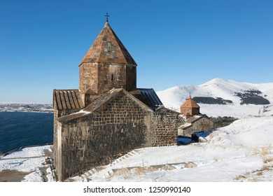 Scenic view of an old Sevanavank church in Sevan, on sunny winter day . Armenia