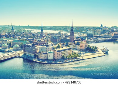 Scenic view of the Old Town or Gamla Stan in Stockholm, Sweden, vintage style effect