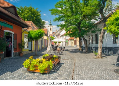 Scenic view of old town of Szentendre, Hungary at sunny summer day. Szentendre is a town of arts and popular destination for tourists staying in Budapest