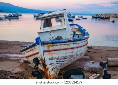 Scenic view of old wooden fishing boats at the pictorial coastal town of Koroni, Greece, Europe