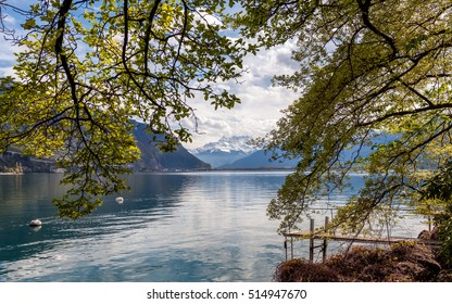 Scenic view on the Alps mountains and lake Leman from Montreux embankment. Springtime.